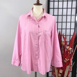 VICTORIA'S SECRET Pink Striped Mayfair Pajama Top